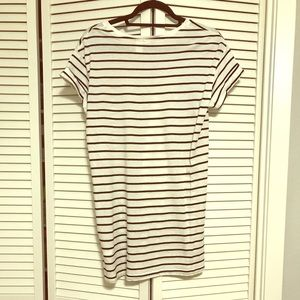*** H&M Divided Black & White Striped Cotton Dress